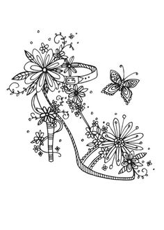 Adult Coloring Pages: Butterfly Shoes