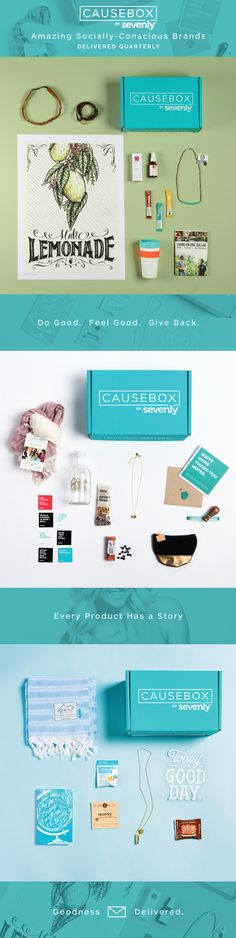 The first subscription box full of socially conscious women's lifestyle products! Great value curated quarterly by Sevenly.