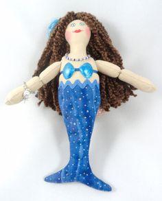 Blue Mermaid Doll  Brunette Mermaid by JoellesDolls on Etsy