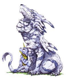 Garurumon and Gabumon Digimon Seasons, Gatomon, Digimon Adventure 02, Digimon Tamers, Digimon Frontier, Digimon Digital Monsters, Fantasy Creatures, Pixel Art, Monsters