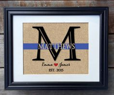 Thin Blue Line Family Name Burlap Print Police by MilsoMade  Can be CUSTOMIZED for FIREFIGHTERS - RED LINE!