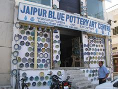 We passed the Jaipur Blue Pottery Art Centre three times before I remembered that Gino, my best friend's husband, is a pottery whore. I didn't know if it would measure up to the Italian… Jaipur Travel, India Travel, India Trip, Ceramic Shop, Ceramic Pottery, Pottery Art, Blue Pottery Jaipur, Delhi Shopping, Patio Tiles