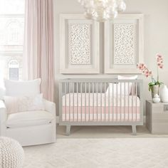 Oilo's Capri Crib Set – Blush Pink. Nursery design. Baby Girl.