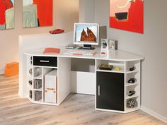 Attractive White Corner Computer Desk For Small Spaces And Home Office With Modern Design Black Corner Desk, Wood Corner Desk, Corner Workstation, Corner Office, Black Office Furniture, Door Furniture, Furniture Sale, Quality Furniture, Home Office Computer Desk