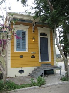 shotgun houses blast from the past Shotgun houses House Crazy Cozy Cottage, Cottage Style, Yellow Houses, Colorful Houses, Shotgun House, New Orleans Homes, Cabins And Cottages, Tiny Spaces, Old Houses