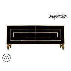 INSPIRATION: (ADD MOLDING TO ALL DOORS OR DRAWERS TO CREATE DESIGN). Black & Brass Credenza **High End Durable, Automotive Polished Finish
