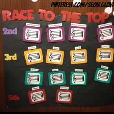 Race to the top. Behavior incentive for multiple classes. I don't do K or 1st grade cause they need instant gratification when it comes to behavior. For every great week with good behavior  the class gets a sticker/dot starting on the first line then space then line all the way to the top. When they reach the top they get a free day or free time in music class.