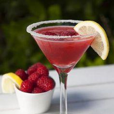 Sugar rimmed raspberry lemon drop martini.