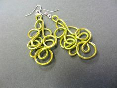 Zingy! Chartreuse statement earrings by elbowsdesigns on Etsy #lightweightearrings #uniquejewelry #funkyjewelry #etsy #supporthandmade
