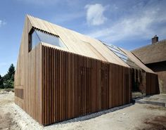 Wolzak / SeARCH Farmhouse Conversion and Extension in Holland by SeARCH - nice 'chunky' cladding and frameless window Architecture Durable, Timber Architecture, Residential Architecture, Architecture Design, Wood Facade, Timber Cladding, Modern Barn House, Small Buildings, House In The Woods