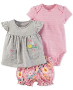 0e5f37de Carter's 3-Pc. Cotton Embroidered Top, Striped Bodysuit & Diaper Cover Set, Baby  Girls & Reviews - Sets & Outfits - Kids - Macy's