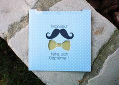 Faire-part baptême / naissance thème moustache et noeud papillon : Faire-part par le-bruit-des-paillettes