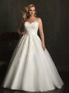 Plus Size Strapless Wedding Dresses A Line Gorgeous Bridal Ball Gowns