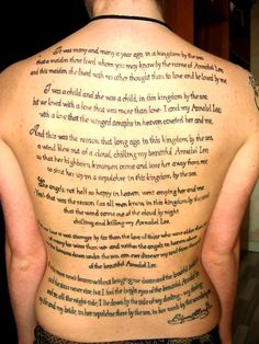 That is dedication my friends. Annabel Lee in it's entirety, mentioned earlier.