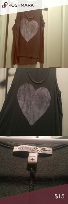 Tank top Tank top - army green with white/gray heart in center.  Very soft. Lightly worn. Express Tops Tank Tops