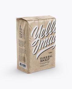 Glossy Kraft Paper Flour Bag Mockup - Half Side View