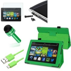 Case+Film+Stylus+Wrap+Cap,+Fits+Amazon+Kindle+All-New+Kindle+Fire+HD+7″+2nd+Gen+2013+Green+Pattern+PU+Leather+Stand+Folio++Matte+Screen+Protector+Cable+Adapter
