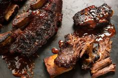 Smoky-Sweet BBQ Beef Short Ribs. ~these were good and a great combo of a spicy rub and sweet sauce. Would make again ~C