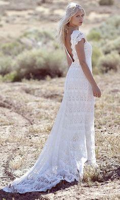 ivory silk wedding dress slit wedding gown bohmian bridal | Daughters of Simone