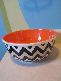 DIY chevron pattern pottery