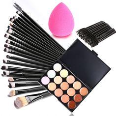 15 Colors Makeup Cosmetic Face Cream Concealer Palette + 70 PCS Brushes Kit Set…