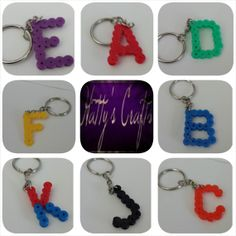 Alphabet Hama/Perler Keyring Custom Made by Hattyscrafts