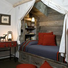 Bedroom Design Ideas, Pictures, Remodels and Decor canvas tent, lantern, western, camping, bedroom