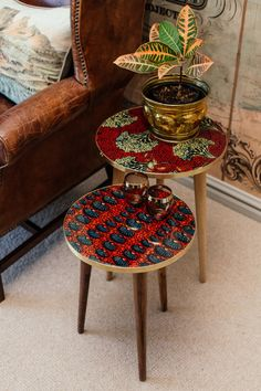 Based on a farm in the KZN Midlands in South Africa, Aroko strives to take what is intrinsically African in design and daily use, and repurpose it into a unique collection of designer tables. Resin Table, Nesting Tables, African Design, Home Reno, African Fabric, Repurposed, Wax, Board, Furniture