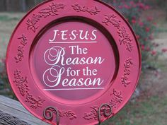 """""""Jesus is the Reason for the Season"""" Charger-Jesus is the reason charger, Christmas Charger, red holly charger"""