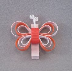 Butterfly Hair Clip Ribbon Sculpture - White Pink Watermelon (orangey-pink) and Hearts Print - Butterfly Clip - Ribbon Sculpture Butterfly on Etsy, $3.50