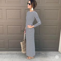 "2,009 Likes, 34 Comments - Kilee Nickels // Style & Hair (@onelittlemomma) on Instagram: ""I'm always in when it comes to stripes and dresses you can ""mom"" in.  This dress fits big so size…"""