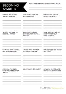 "When are you a ""writer""? How will you become a writer and how will you know when you are one? // WRITING WORKSHEET // http://eadeverell.com/writer-worksheet-wednesday-become-a-writer/?utm_content=buffer3895a&utm_medium=social&utm_source=pinterest.com&utm_campaign=buffer"