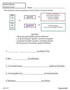 Gustar (to like) #spanishworksheet #newteachers #printable
