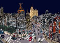 Madrid City, San Bernardo, Tatoo Designs, City Painting, Urban Sketchers, Spain And Portugal, Illustrators, Graphic Art, Martial
