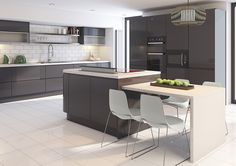 Stylish and modern design. Wrapped in high gloss dark grey pvc. Integral handle to create a minimalist look. Fully matching pvc panels available. Curved units, bifold cupboards and double pan drawers avail Grey Gloss Kitchen, Grey Kitchen Cabinets, Kitchen Units, Kitchen Tiles, Kitchen Flooring, Wall Cabinets, Grey Cupboards, Kitchen Ranges, Glossy Kitchen