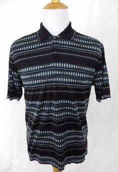 Jhane Barnes Shirt Large Black Golf Polo Stretch Mesh Cotton Tribal Art Deco #JhaneBarnes #PoloRugby
