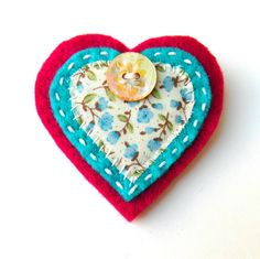 Heart Brooch or Bag Charm - Felt - Pink and Turquoise Floral £5.95