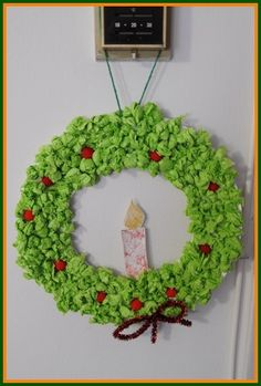Ball up some tissue paper to make this beautiful Christmas wreath!