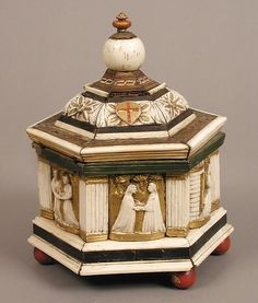 Hexagonal Casket   Artist: Embriachi Workshop   Date: early 15th century  Culture: North Italian  Medium: Wood, bone, paint and gilding