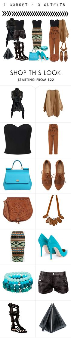 """""""{1 Corset - 3 Outfits}"""" by bumbledbeee ❤ liked on Polyvore featuring Miss Selfridge, Jonathan Saunders, Dolce&Gabbana, Warehouse, Emporio Armani, Gianvito Rossi, IRO, Top Guy and McQ by Alexander McQueen"""