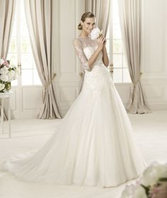 Lovely a-line wedding dress with elbow length sleeves by Pronovias
