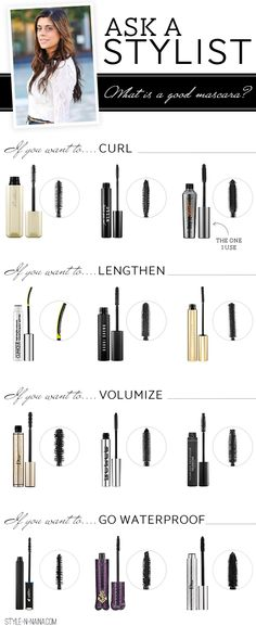 Mascara Tips - Curl, Lengthen, Volumize and Waterproof - Look at January 30, 2013 Blog entry for this information.