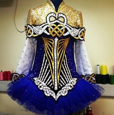 Celtic Star Irish Dancing Solo Dress - absolutely beautiful blue dress with a soft skirt and gold + white embellishments❤️