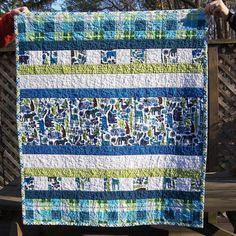 Boy Quilt. design with narrow & wide strips.