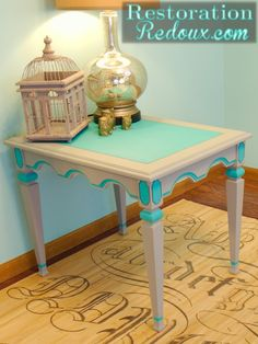 Grey and Turquoise Side Table #diy #furniture #painting