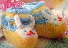 This listing is a knitting * Instant Download PATTERN* to make knitted Bunny Bootees for babies.   Pattern on Etsy.