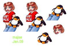 pige med pingvin