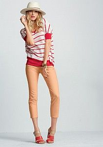 SUPERCUTE!!!!!  CAbi Creamsicle Jeans and top... love it topped with the hat and the shoes mirror the top!