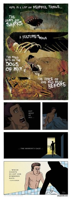 """""""Fearful things"""" - Poem by Clive Barker Cute Comics, Funny Comics, Cartoon Quotes, Comics Story, Short Comics, Calvin And Hobbes, Kids Sleep, Angst, Comic Strips"""