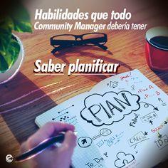 Imagen para las redes sociales de e-SocialTech, que muestra las habilidades de un Community Manager.